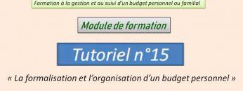 La formalisation et l'organisation d'un budget personnel