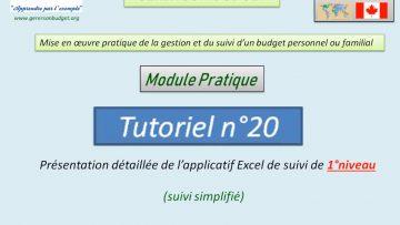 Présentation détaillée de l'applicatif Excel de suivi du budget de