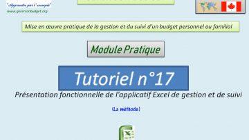Présentation fonctionnelle de l'applicatif Excel de gestion et de suivi d'un budget personnel